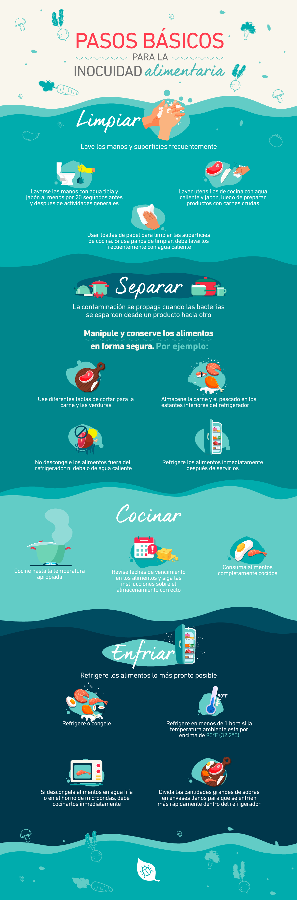 infografia pasos basico para la inocuidad alimentaria
